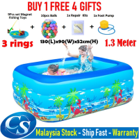 [1.30 Meter ]130(L)x92(W)x52CM(H) 3 Ring Kids Family Inflatable Swimming Pool, Rectangular