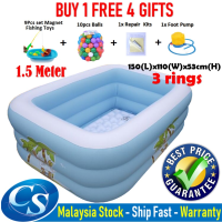 [1.50 Meter]150(L)x110(W)x53CM(H)3 Ring Kids Family Inflatable Swimming Pool, Rectangular Kolam Air Budak