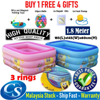 [1.80 Meter] 185(L)x145(W)x60CM(H) 3 Ring Kids Family Inflatable Swimming Pool, Rectangular Kolam Air Budak