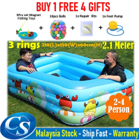[2.10 Meter]210(L)x150(W)x60CM(H)3 Ring Kids Family Inflatable Swimming Pool, Rectangular Kolam Air Budak