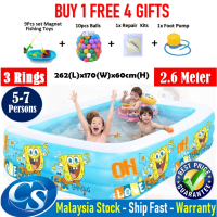 Big Size [2.6Meter] 262(L)x170(W)x60CM(H) 3 Ring Kids Family Inflatable Swimming Pool, Kolam Air Budak