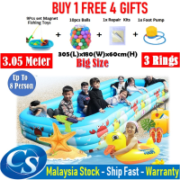 Big Size 305(L)x200(W)x60CM(H)3 Ring Kids Family Inflatable Swimming Pool, Rectangular Kolam Air Budak