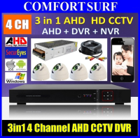 3 in 1 Latest  4 Channel AHD + DVR + NVR CCTV P2P Network HD Recorder DVR