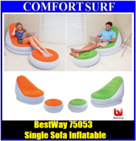 Bestway 75053 Inflatable Relaxing Single Air Chair + Foot Rest Lounge Seat Sofa