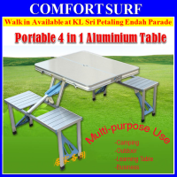 4in1 Portable Outdoor Camping Picnic Aluminium Table Meja Lipat + Umbrella Hole