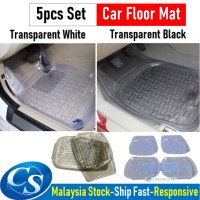 5pcs Set 5 Pieces  Full Set Transparent PVC Waterproof Car Floor Non-Slip Mat Carpet