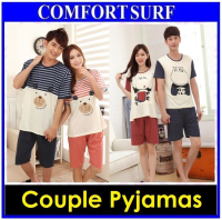 Men Women Lovers Night Dress Sleepwear Couple Pajamas Cotton Short Sleeved