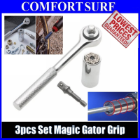 3pcs Set Magic Gator Reflex Grip Chrome Universal Multi-function Socket 7-19mm Ratchet Wrench Tool
