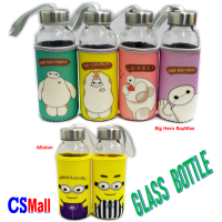 Water Protector Sleeve Glass Healthy Bottle with Cartoon Warmer Bag