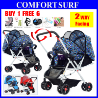 Luxury 2 Two Way Facing Lightweight Baby Stroller Folding 8X Wheels, Backrest, Canopy, Suspension