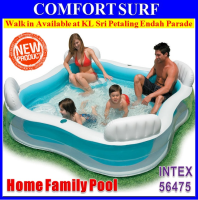 INTEX 56475 Swim Center Family Pool With Backrest + Four Inflatabe Seats Family Home Pool