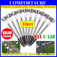 10 Units Outdoor Stainless Steel Solar Powered LED Light Lawn Garden Landscape Path LED Light