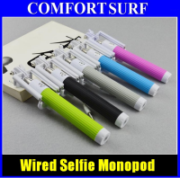 New Extra Long 85CM Wired Selfie Stick Monopod Foldable With Phone Holder attached