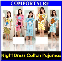 Female Short Sleeved Sleepwear Pajamas Night Dress Cartoon Korean Styles
