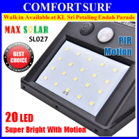 20 LED MaxSolar SL027 Solar Powered Motion Sensor Light Wall Street Garden LED Lamp