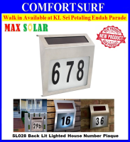 MaxSolar SL028 Solar Powered Back LIT Lighted Sign House Number Plaque Lampu Rumah