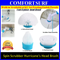 Hurricane Spin Scrubber Brush Head Cleaning Flexible Bristles Recharge - Replacement Heads of 3 Brushes