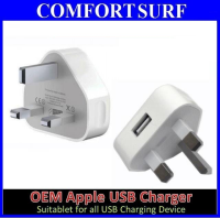 Apple iphone 5/4/3 5V 1A 3Pin OEM USB Charger British regulations