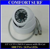 "Latest High Resolution CCTV Dome 1/3"" IR Infrared Color CCD Camera 1000TVL 24pcs LED"