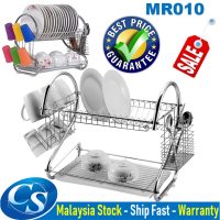 MR010 [2 Layers] Stainless Steels Drain Dishes Kitchen Dapur Storage Rack Rak Pinggan Mangkuk Kitchen Organizer