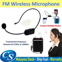 Rechargeable Wireless Headset FM Transmitter Microphone Radio Mic for Tour Guide Salesman Teachers Karaoke