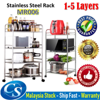 MR-006 (1-5 Layers) Stainless Steel Kitchen Storage Shelf ,Storage Rack, Kitchen With Wheels Microwave Oven Rack