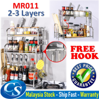 MR-011 [2-3 Layers] Stainless Steel Seasoning Rack Kitchen Spice Bottle Storage Shelf Knife and Chopping Board Rack