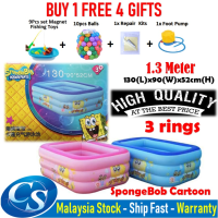 [1.30 Meter]130(L)x90(W)x52CM(H) 3 Ring Kids Family Inflatable Swimming Pool, Rectangular Kolam Budak