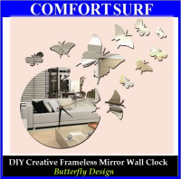 Butterfly Design - DIY Creative Interior Decoration Framelss Mirror Wall Acrylic Clock