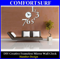 Number Design - DIY Creative Interior Decoration Framelss Mirror Wall Acrylic Clock