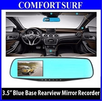 3.5 inch Blue Base Car Cam DVR Rear View Mirror Camera Video Recorder
