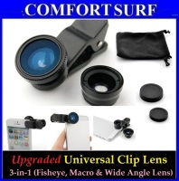 Latest 3 in 1 Clip-on Universal Lens for Mobile Phone & Camera-Fisheye, Macro, & Wide Angle Lens