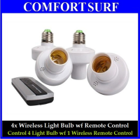 4x E27 Wireless Light Lamp Bulb Holder Cap Socket Switch with Remote Control
