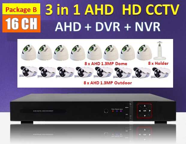 3 in 1 Latest 16 Channel AHD + DVR + NVR CCTV P2P HDMI Network HD Recorder Real Time Monitoring Via Smatphone / PC