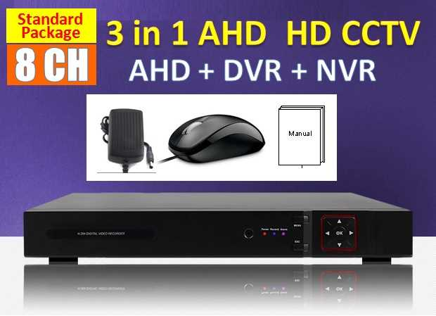 3 in 1 Latest 8 Channel AHD + DVR + NVR CCTV P2P HDMI Network HD Recorder Real Time Monitoring Via Smatphone / PC