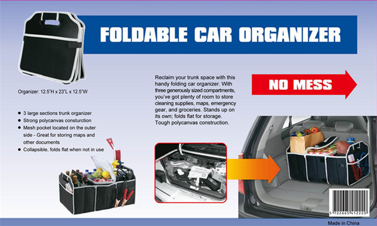 Foldable Bamboo Fiber Car Trunk Rear Bonnet Collapsible Organizer Carry Bag