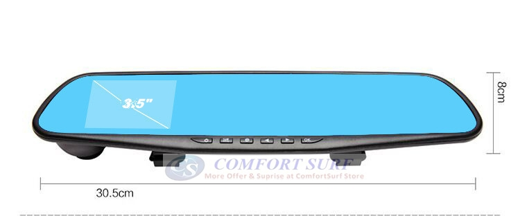 3.5 inch Blue Base Mirror Car Cam DVR Rear View Mirror Camera Video Recorder