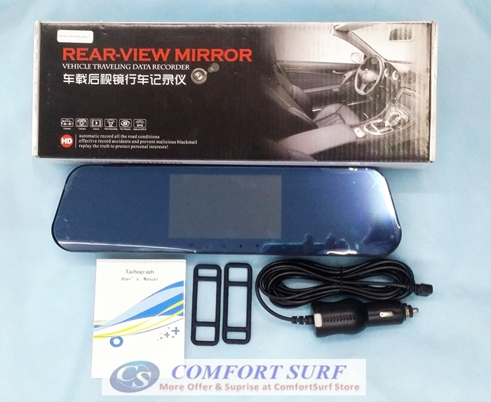 4.3 inch Blue Base Mirror Car Cam DVR Rearview Camera Video Recorder