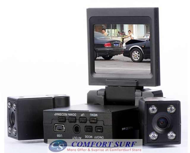 Dual Camera HD Car Portable CCTV DVR Camera Camcorder With 8IR LED night vision