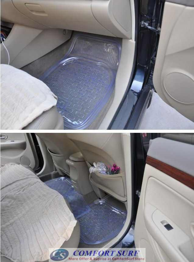 Advance Thickness Full Set 5 Pieces Transparent PVC Waterproof Car Floor Non-Slip Mat Carpet