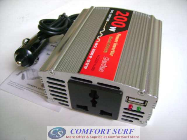 200W 12V DC To AC 220V + USB 5V Car Power Inverter