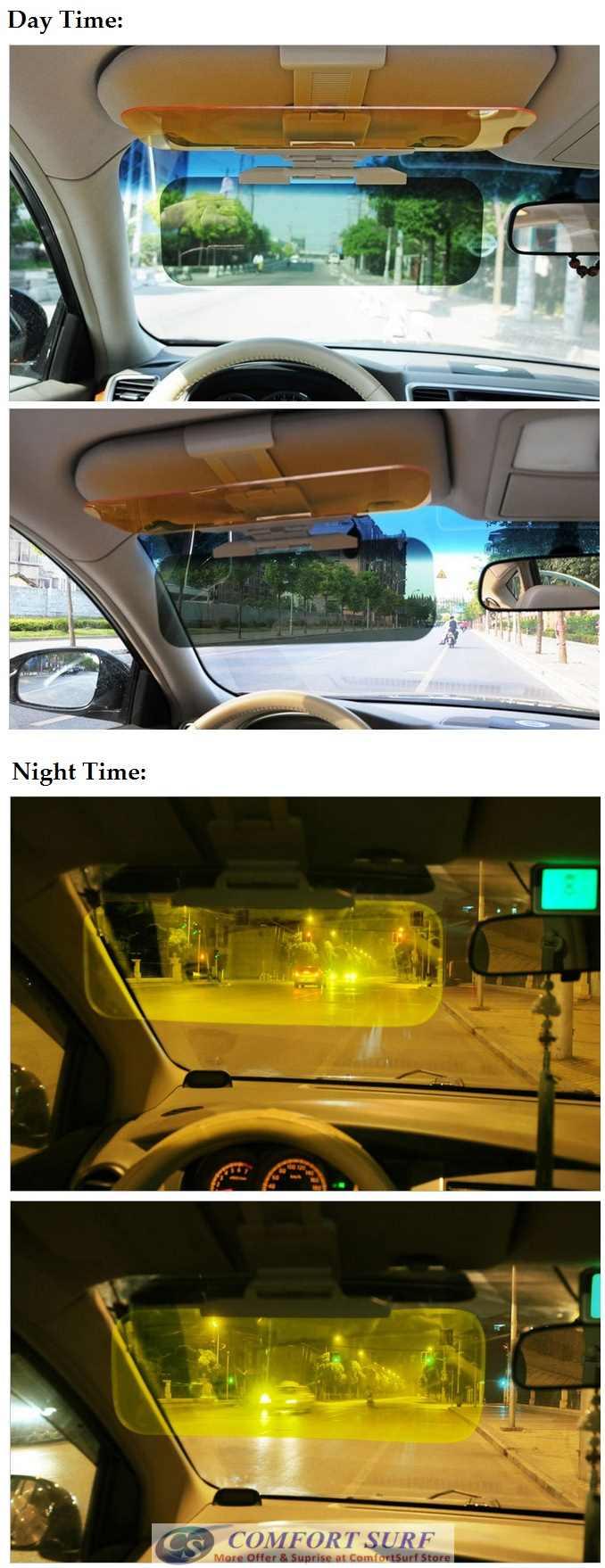 Clip On Anti Dazzle Car Sun Blocker Visor for Day & Night