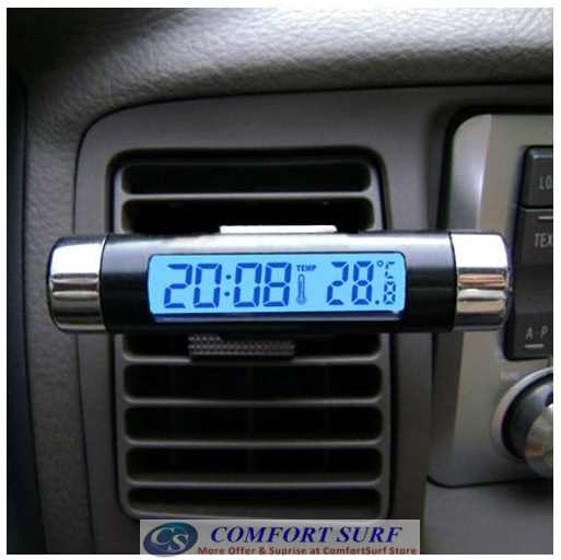 Car LCD Digital Back Light Automotive Clock with Thermometer