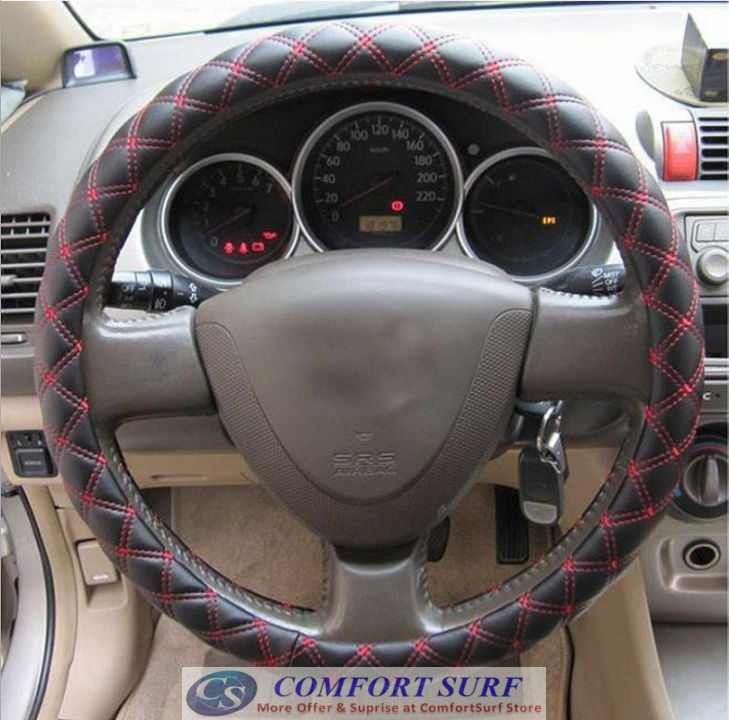 Anti Slip Red & White Wine Line Series Style Car Steering Wheel Cover Protective Case
