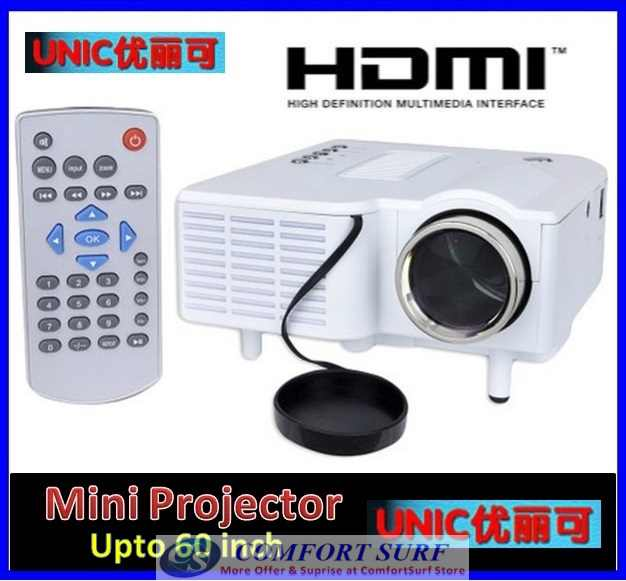 Original UNIC UC28+ 3rd Generation LED Projector with DIRECT VGA HDMI AND REMOTE CONTROL INCLUDED!