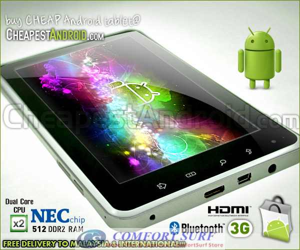 7 inch Renesas NEC ARM Cortex Dual Core A9 1.0GHZ Capacitive Touch Screen Android 2.3 Gingerbread Tablet PC