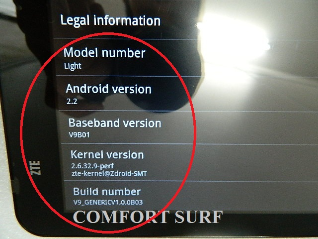 ZTE Light V9 v2 Android 2.2