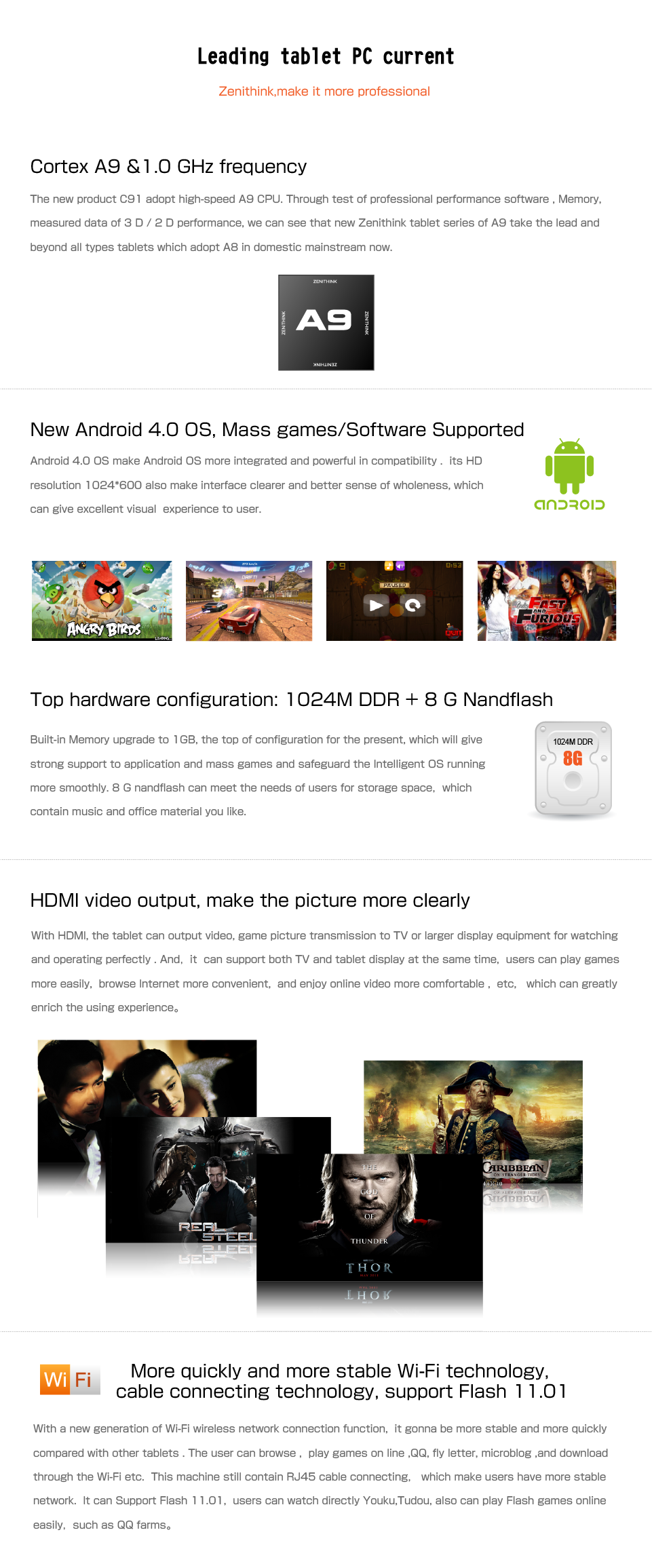 Zenithink C91 Upgrade 1GB DDR3 Android 4.0
