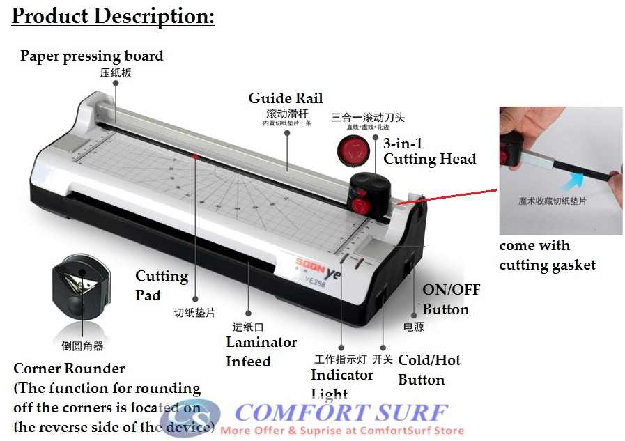 Multifunction 6-IN-1 A4 / A3 Laminator