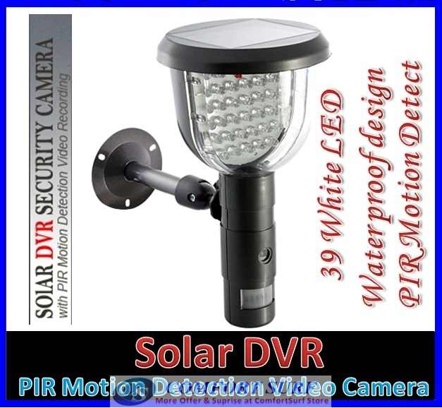 Solar DVR Security Camera - PIR Motion Detection Video Recording, 39 White LED Lights